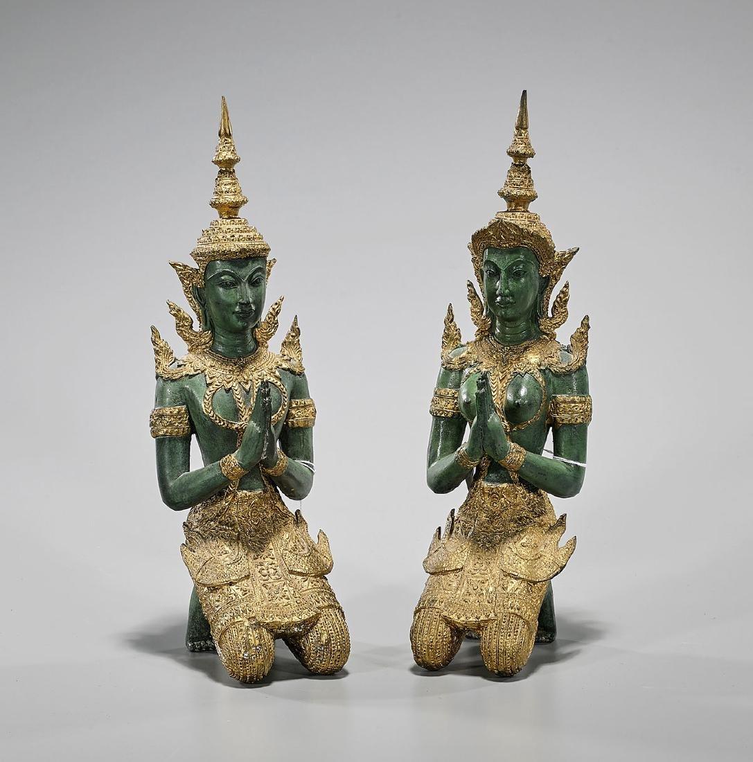 Pair Thai Parcel-Gilt Metal Kneeling Deities