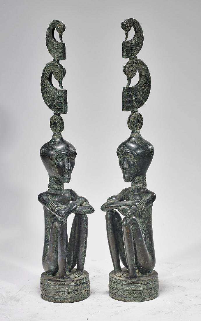 Pair Southeast Asian Bronze Seated Figures