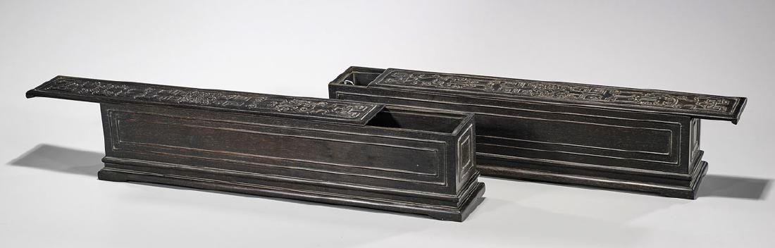 Pair Large Chinese Carved Wood Scroll Boxes