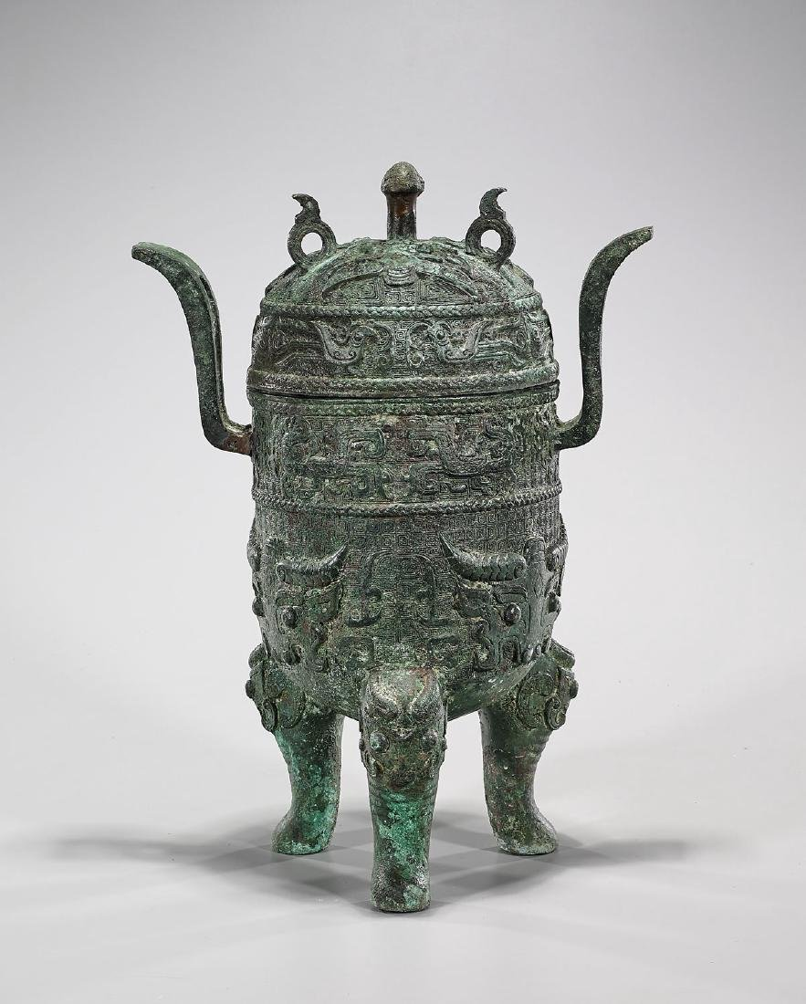 Tall Chinese Archaistic Covered Bronze Vessel