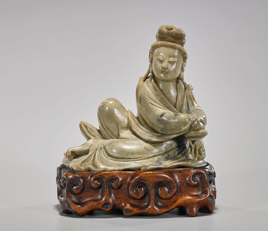Antique Chinese Carved Soapstone Figure of Guanyin