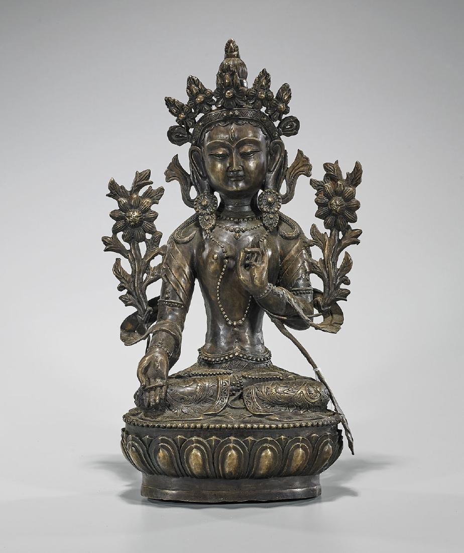 Chinese Bronze Seated Tara