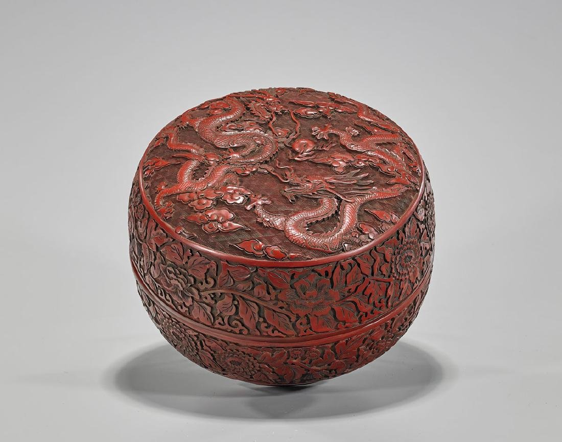 Large Chinese Carved Cinnabar Lacquered Box