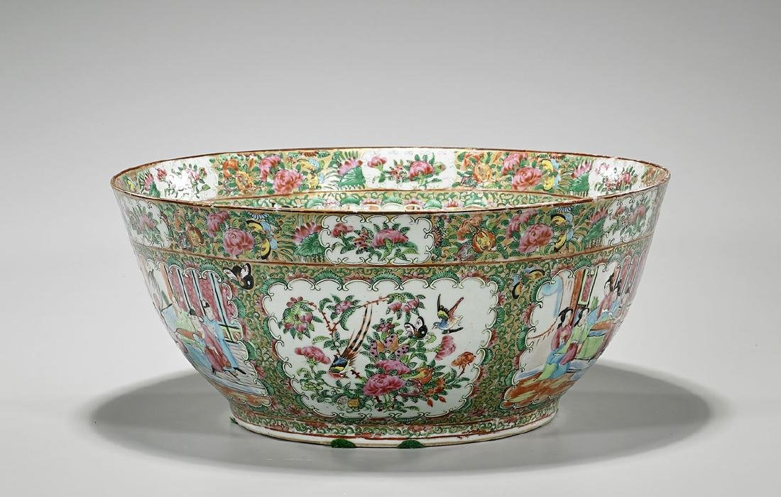 Large Antique Rose Medallion Enameled Porcelain Bowl