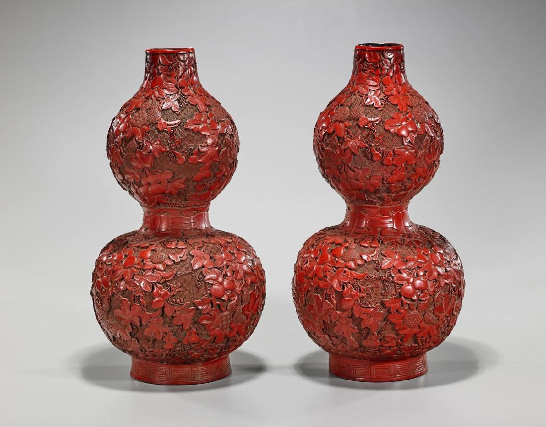 Pair Cinnabar Lacquer Double Gourd Vases