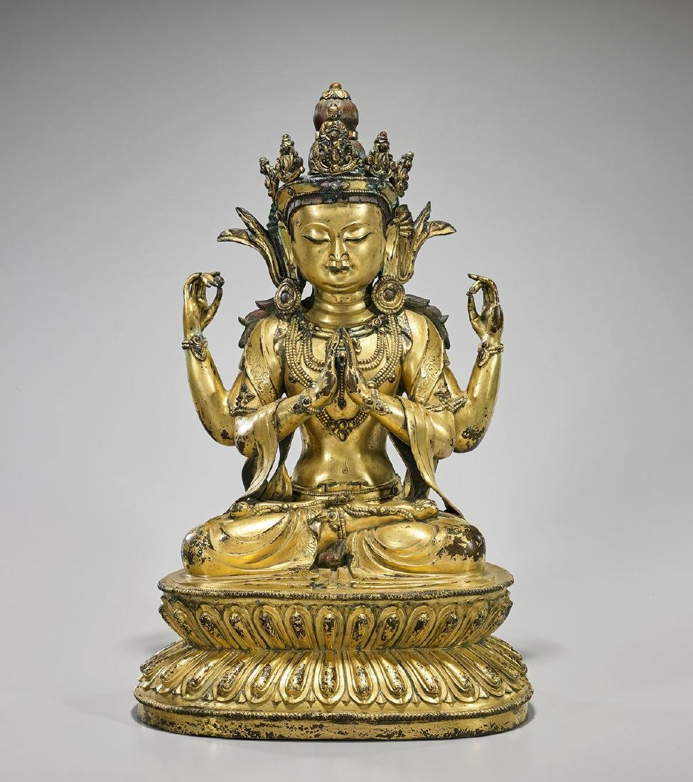Large Chinese Ming-Style Gilt Bronze Bodhisattva