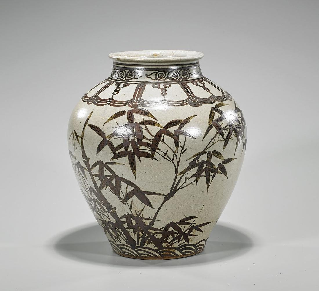 Antique Korean Iron Underglaze Porcelain Jar