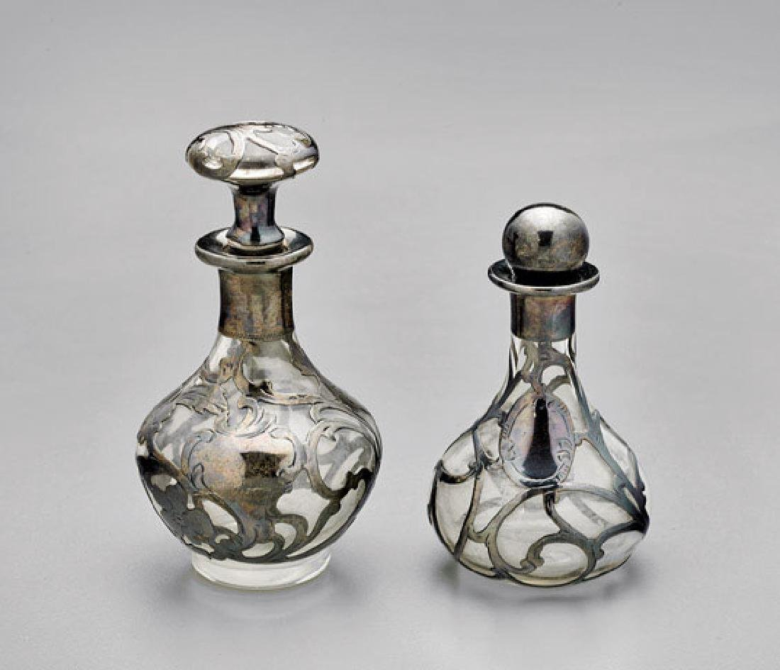 Two Antique Sterling Overlay Perfume Bottles