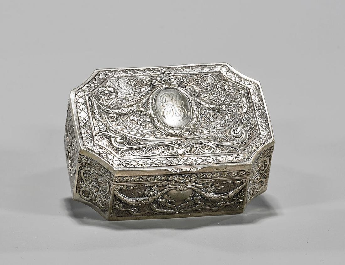Antique German Repousse Silver Box