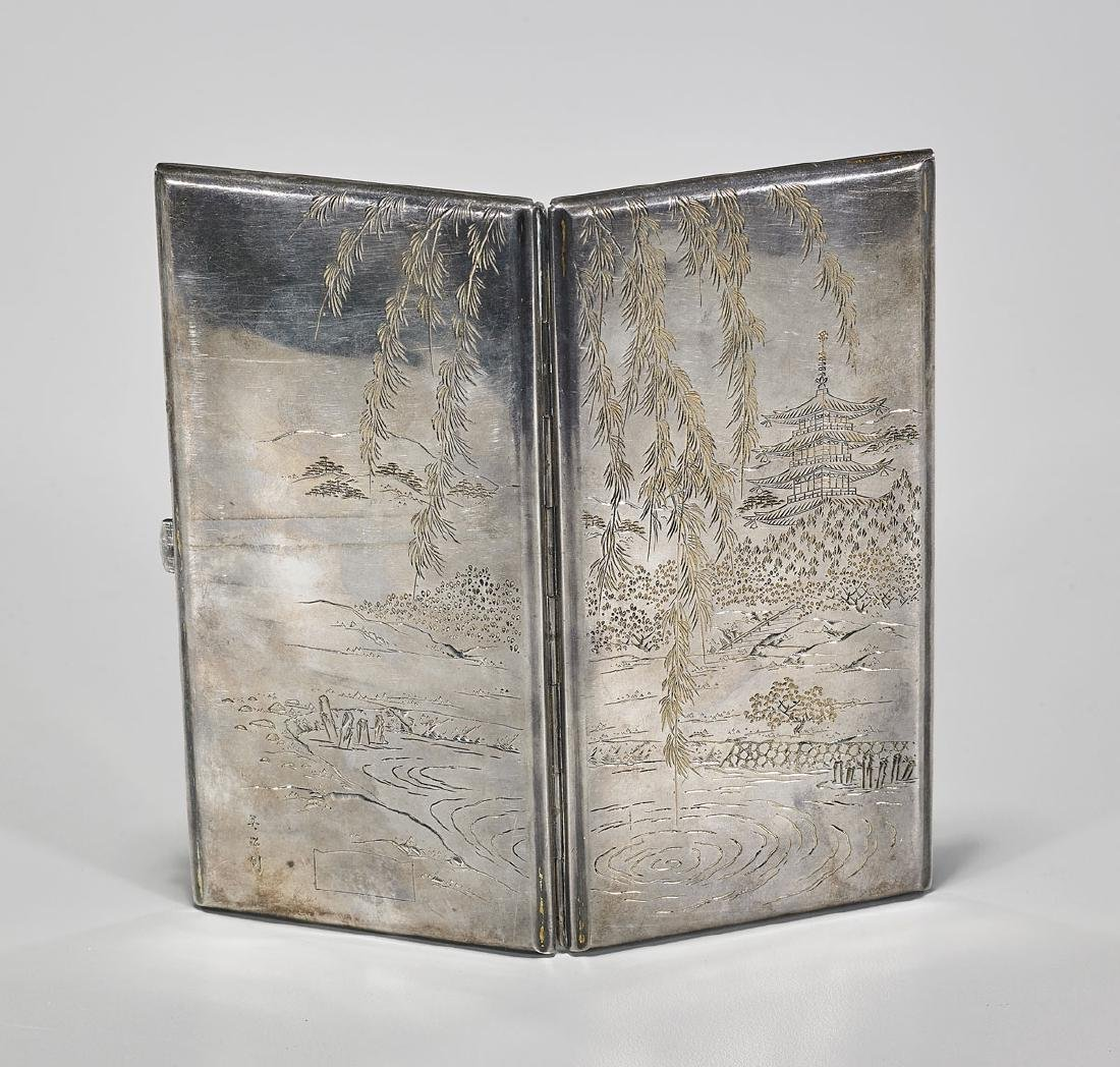 Old Japanese Sterling Silver Cigarette Case