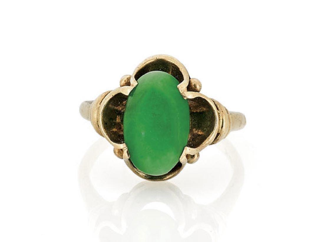 Vintage Yellow Gold & Jadeite Ring