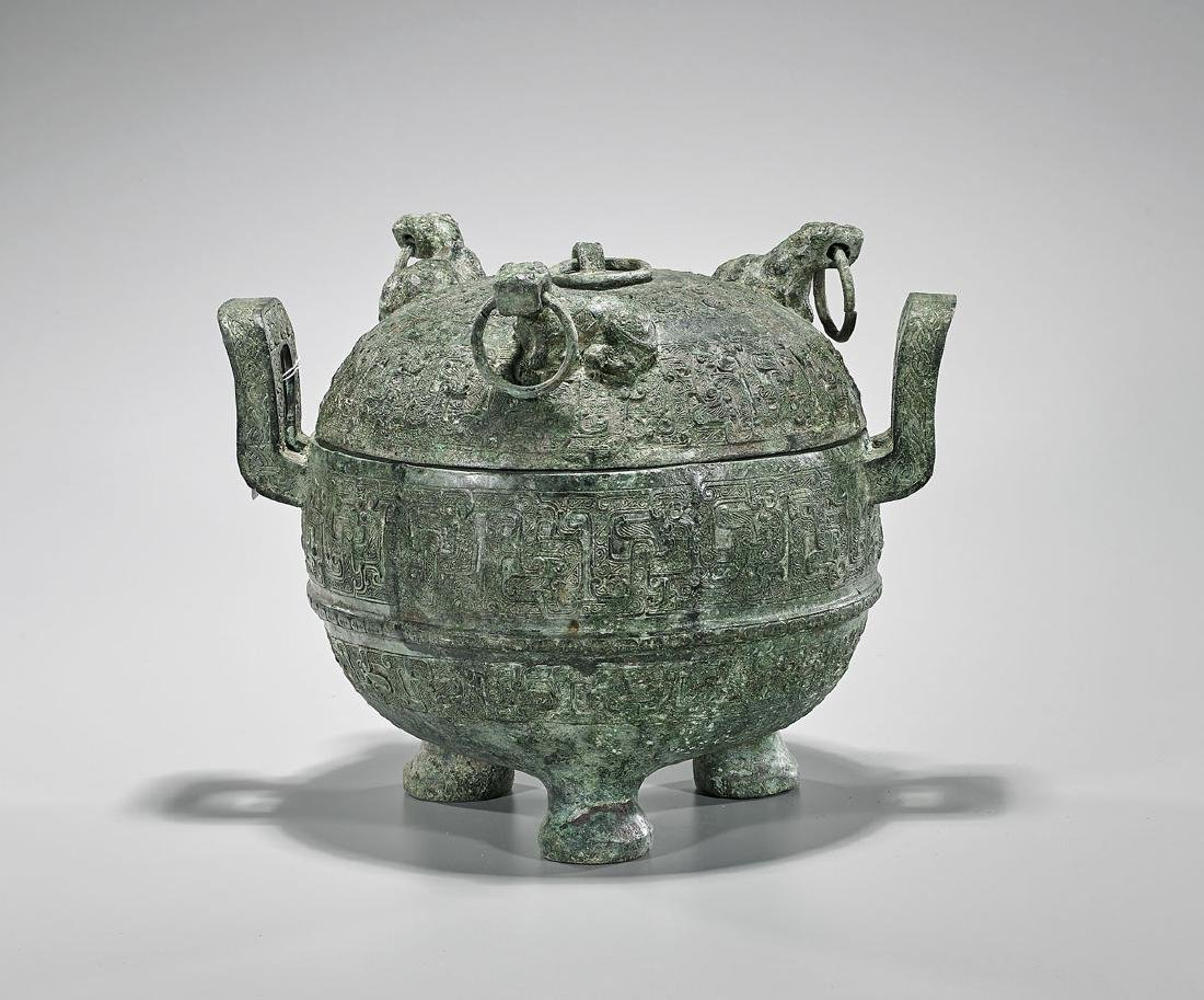 Large Archaistic Chinese Bronze Covered Tripod Vessel