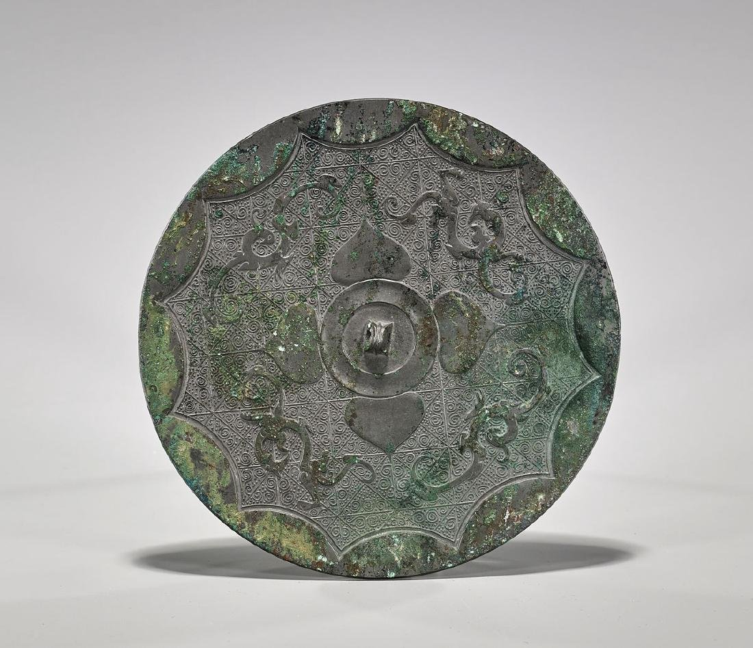 Chinese Archaic-Style 'Phoenix & Chilong' Bronze Mirror