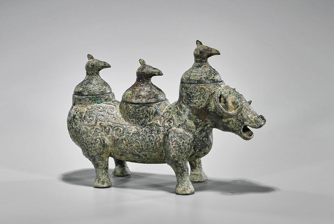 Archaistic Chinese Bronze Animal-Form Triple Vessel