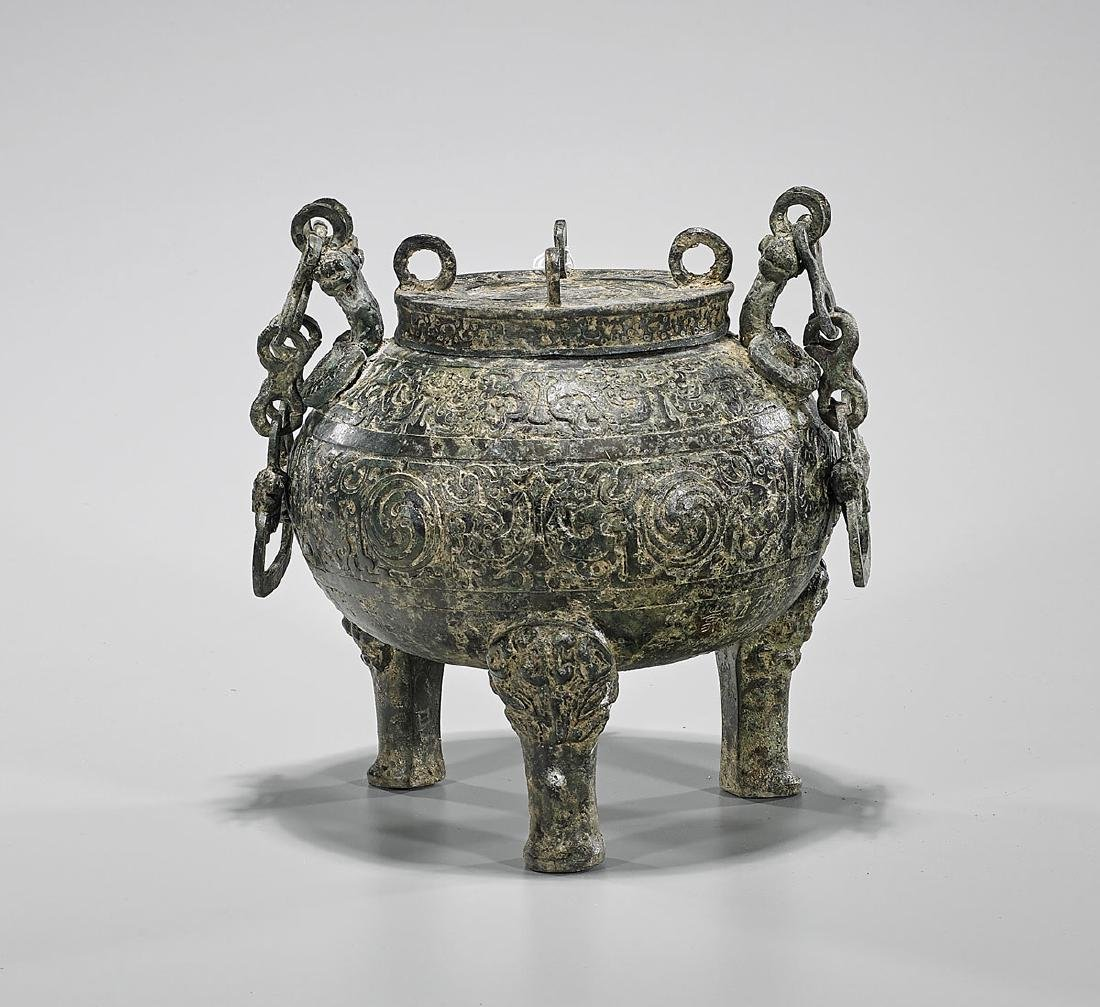 Archaistic Chinese Bronze Covered Tripod Vessel