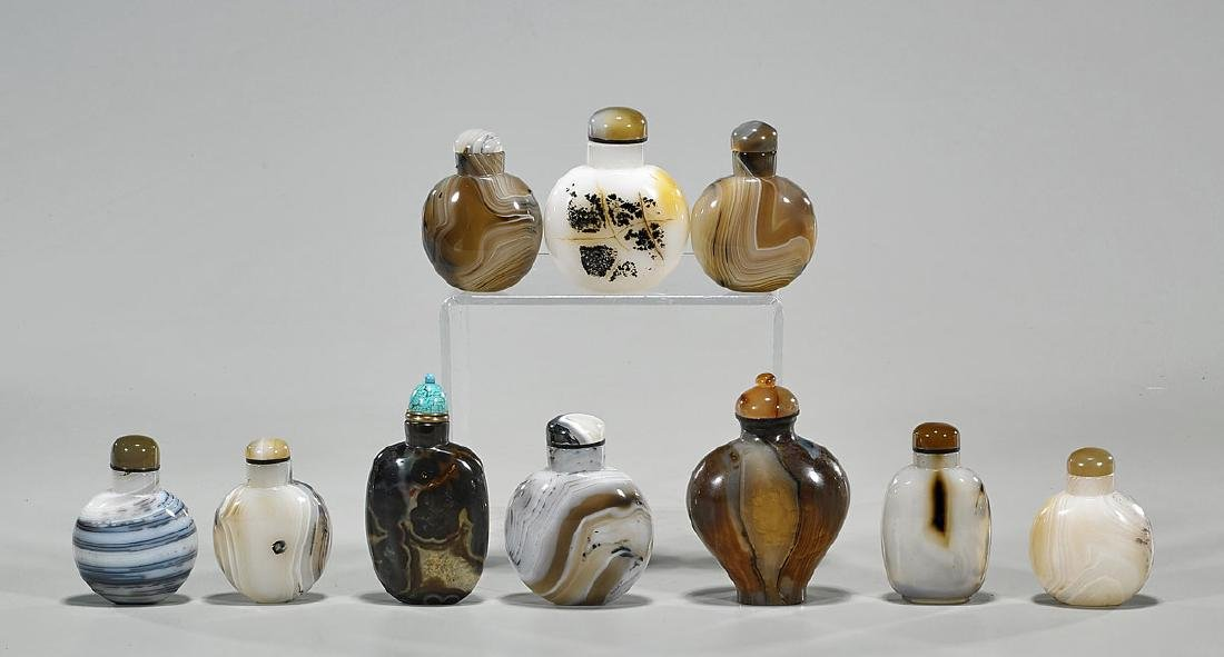 Collection of Ten Chinese Agate Snuff Bottles