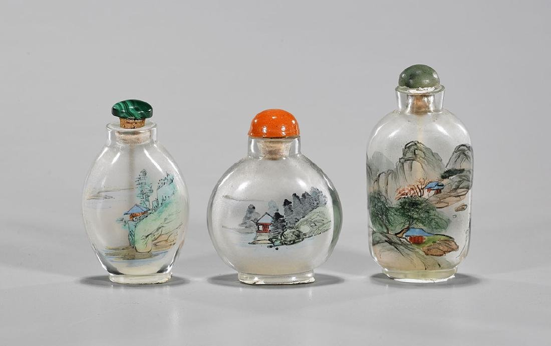 Three Old Chinese Inside-Painted Glass Snuff Bottles