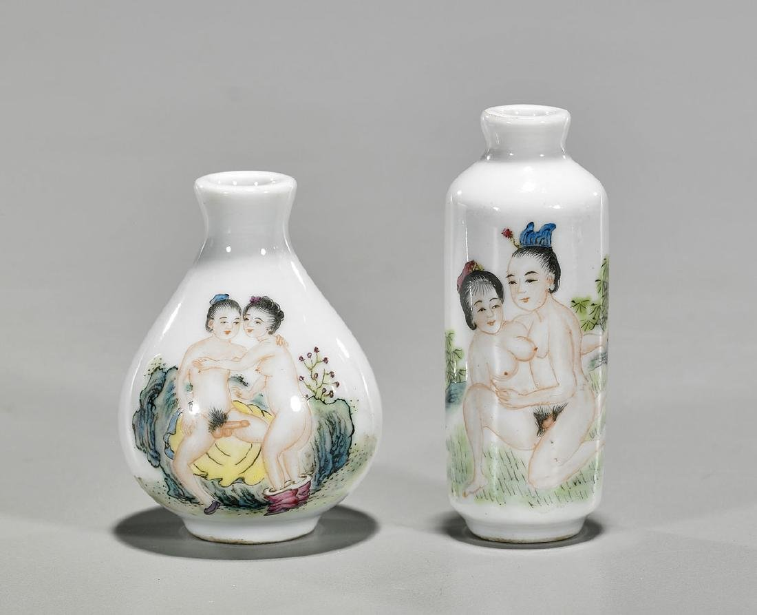 Two Chinese Enameled Porcelain Snuff Bottles