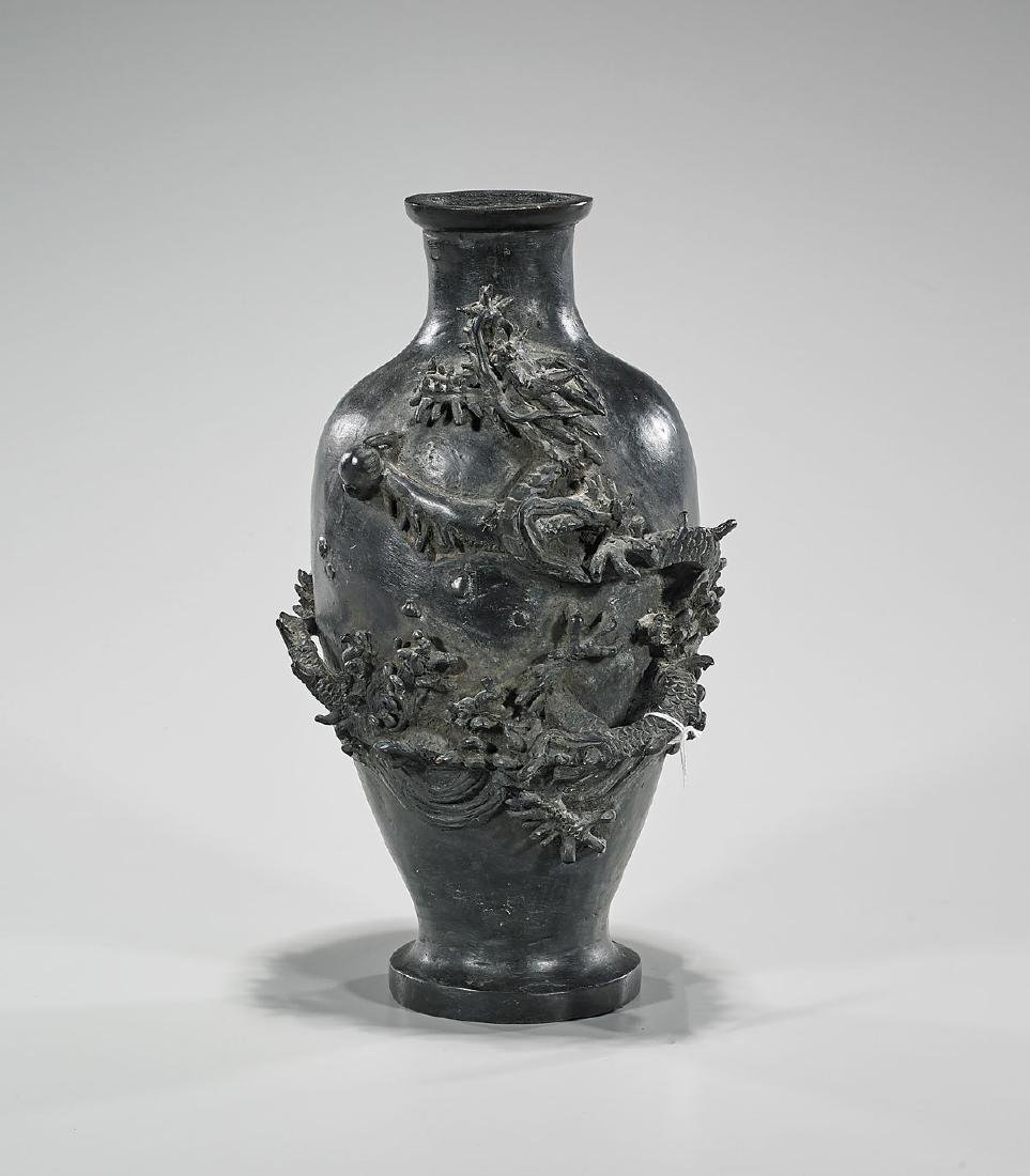 Antique Japanese Bronze 'Dragon' Vase