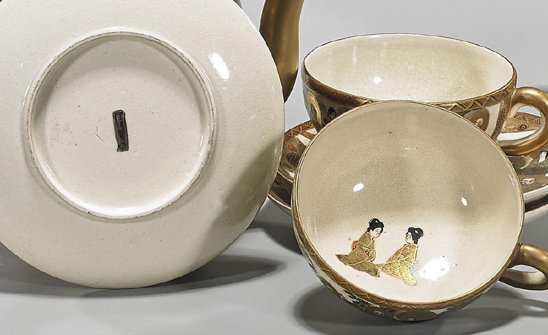 Antique Japanese Satsuma Earthenware Tea Set - 2