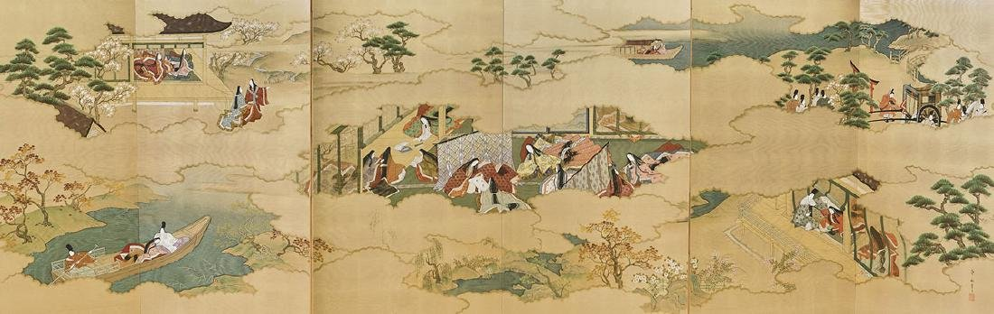 Large Japanese Painted Six-Panel Screen