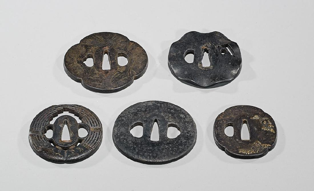 Group of Five Old Japanese Iron Tsuba