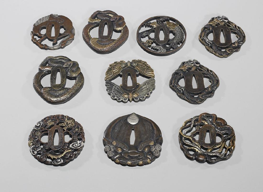 Group of Ten Various Japanese Metalwork Tsuba