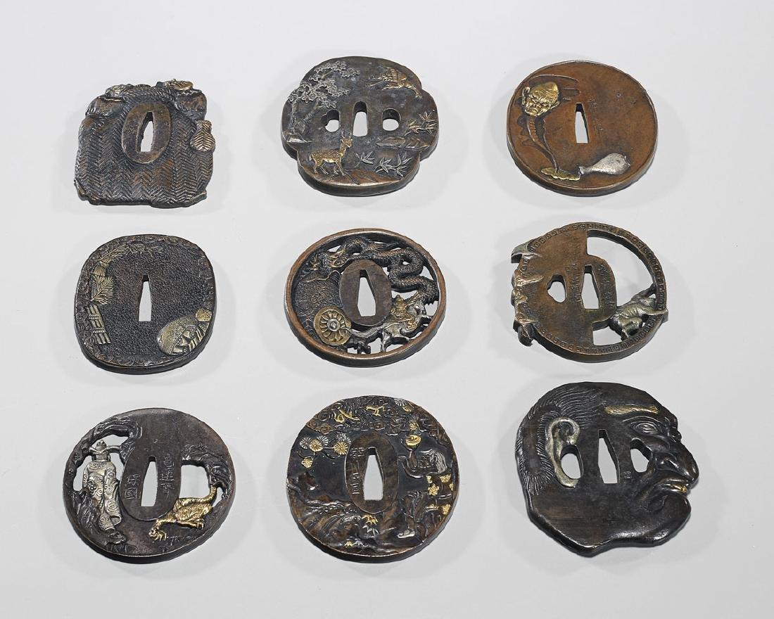 Group of Nine Various Japanese Metalwork Tsuba - 2