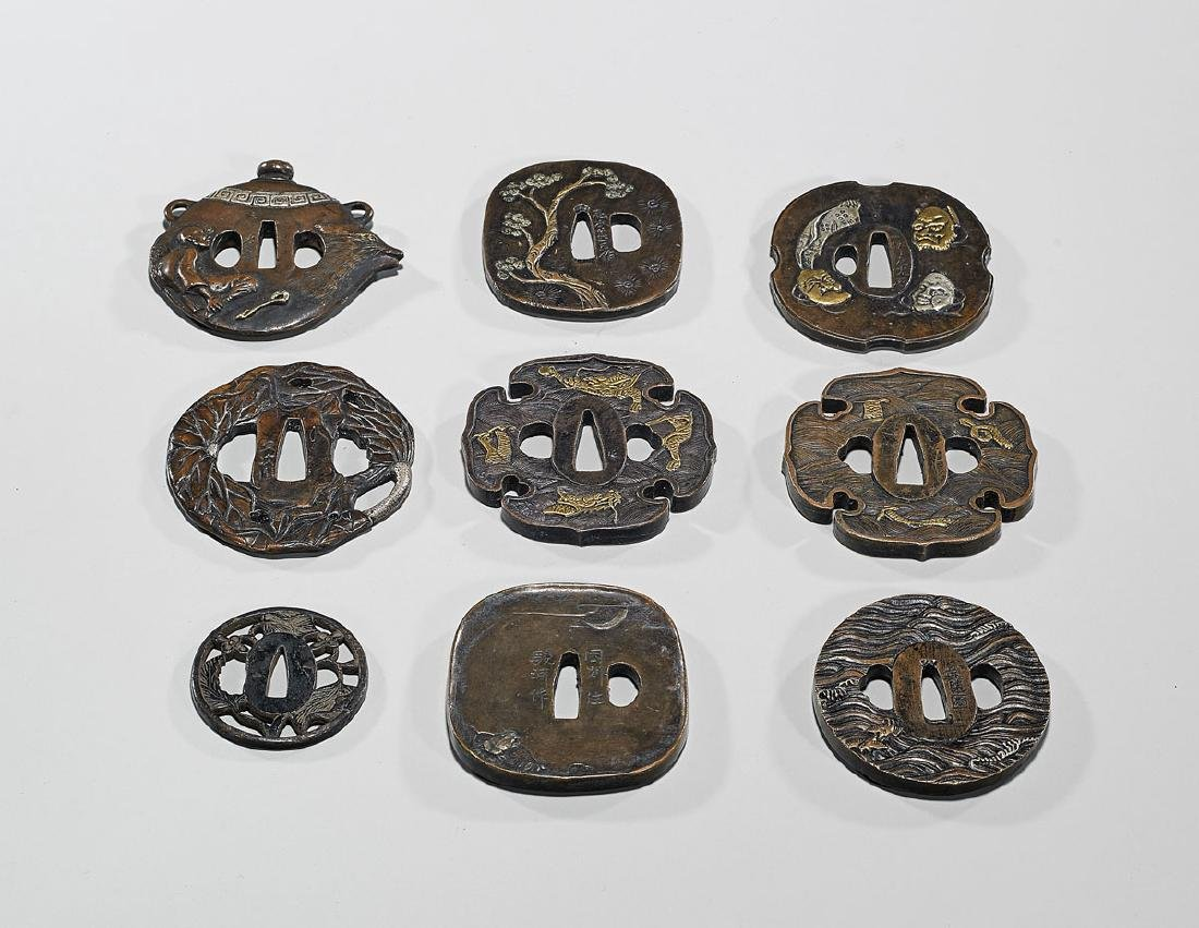 Group of Nine Various Japanese Metalwork Tsuba