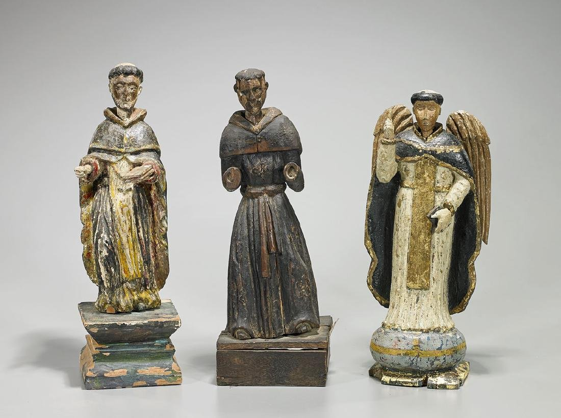 Group of Three Antique Spanish Colonial Santos Figures