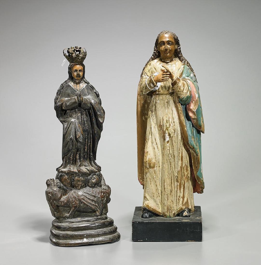Two Antique Spanish Colonial Santos Figures of Virgin