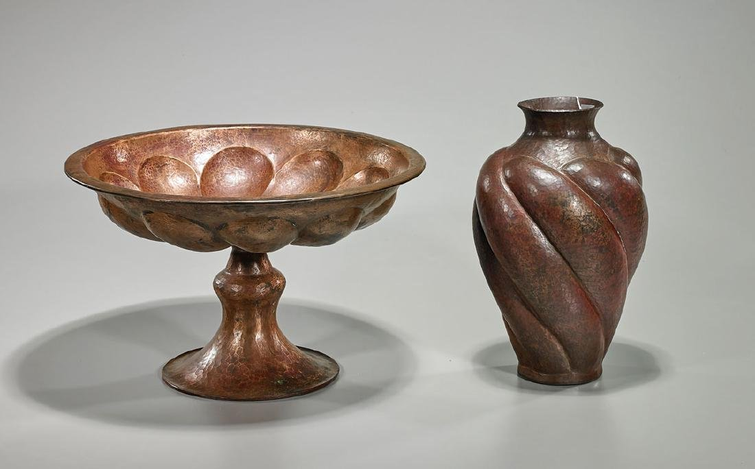 Two Italian Copper Pieces: Vase and Tazza