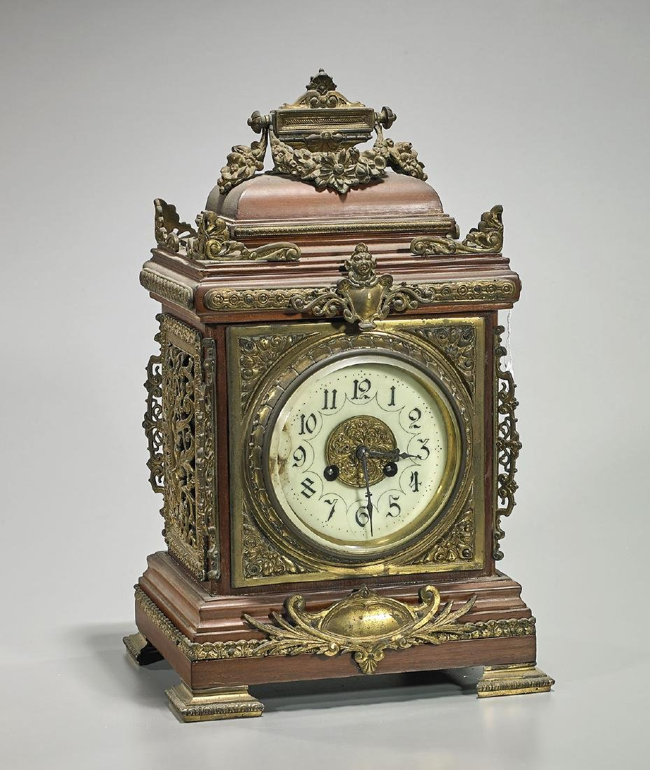 Antique Continental Brass-Mounted Wood Clock