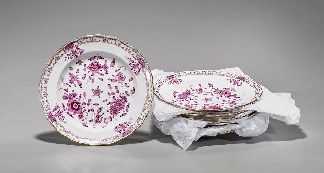Group of Meissen 'Purple Indian' Porcelain Plates