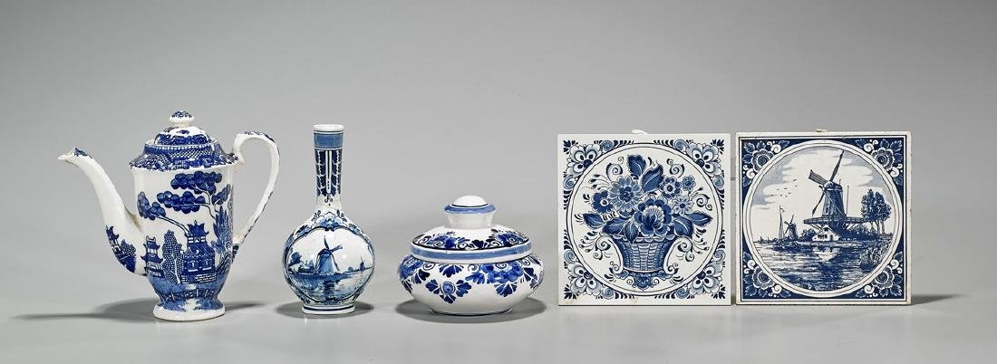 Five Dutch Blue & White Porcelains