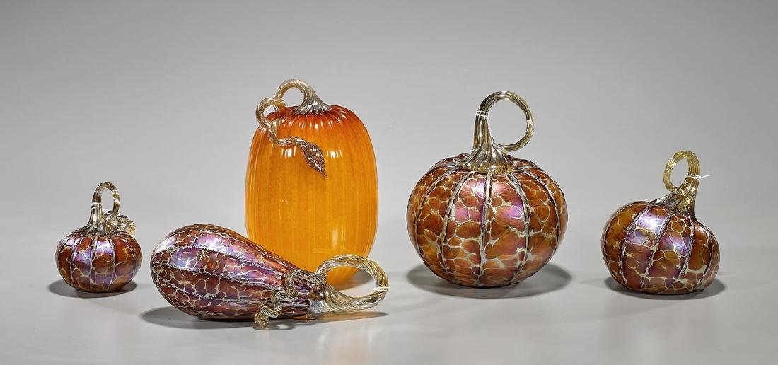 Group of Five Art Glass Vegetables