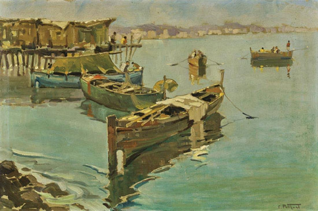 Old Oil Painting After E. Potthast: Harbor Scene