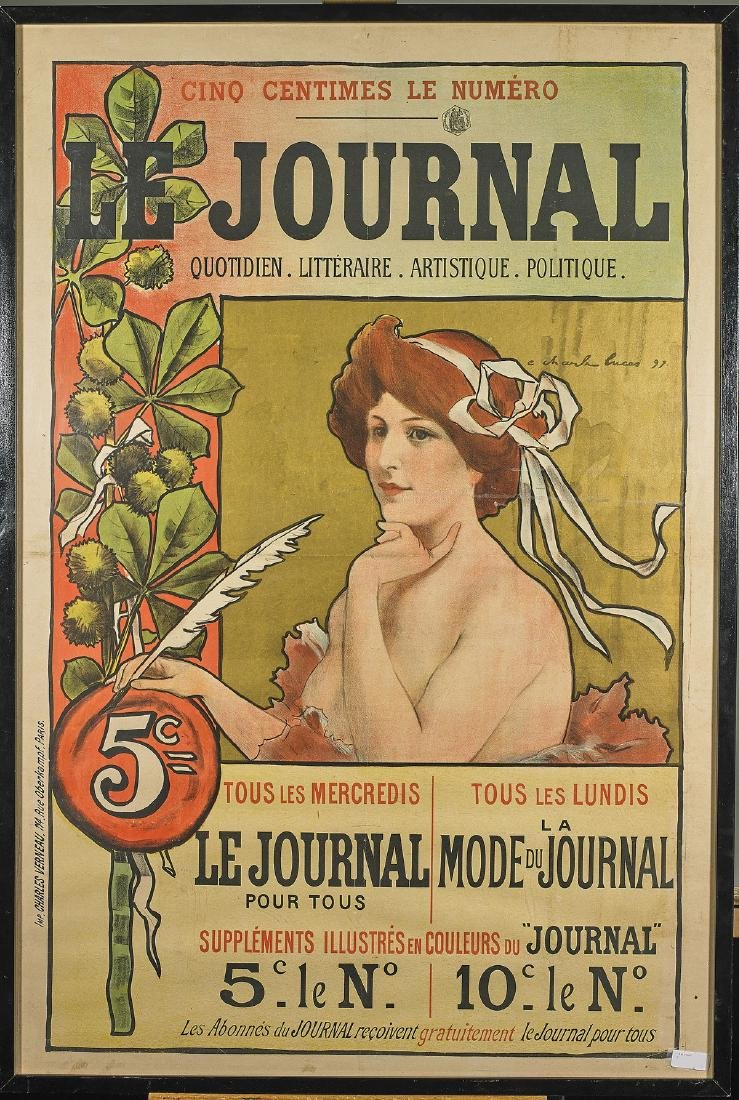 Le Journal' Poster Signed Charles Lucas