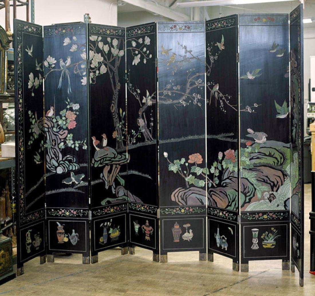 Tall Chinese Eight-Panel Coromandel Screen