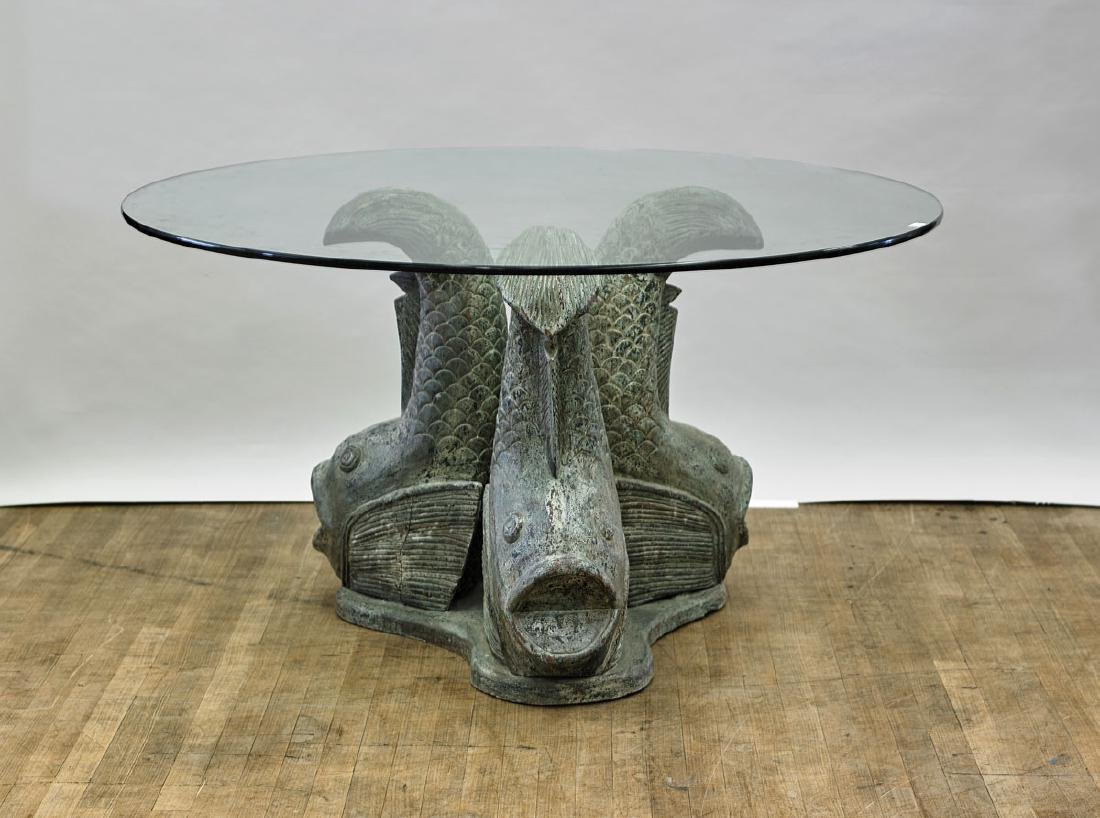 Large Carved Wood 'Fish' Table