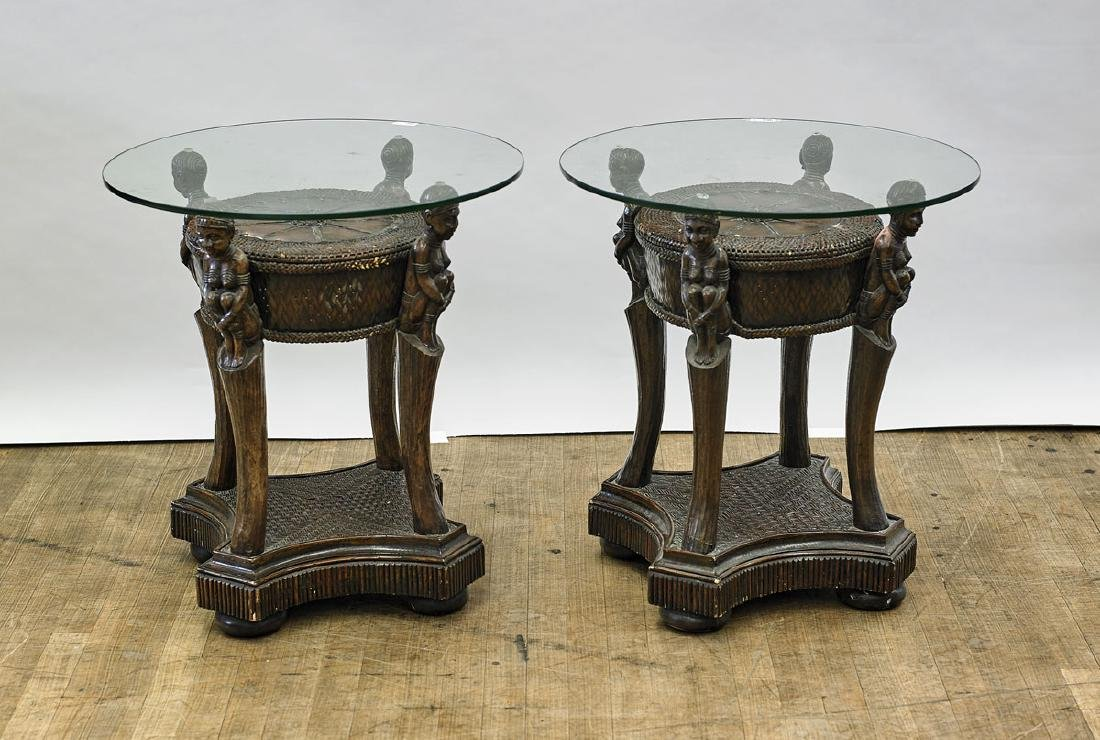 Pair Carved Wood Figural Tables