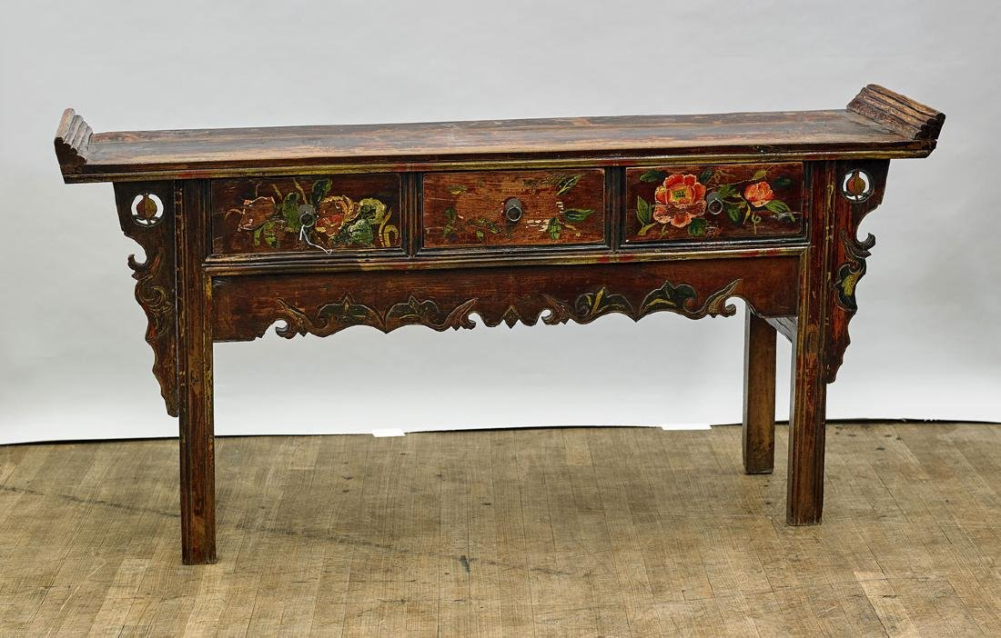 Antique Chinese Painted Wood Altar Table
