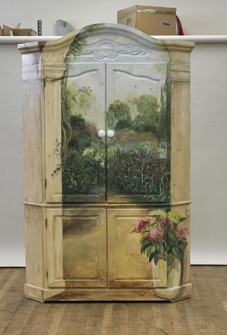 Large Painted Wood Corner Armoire