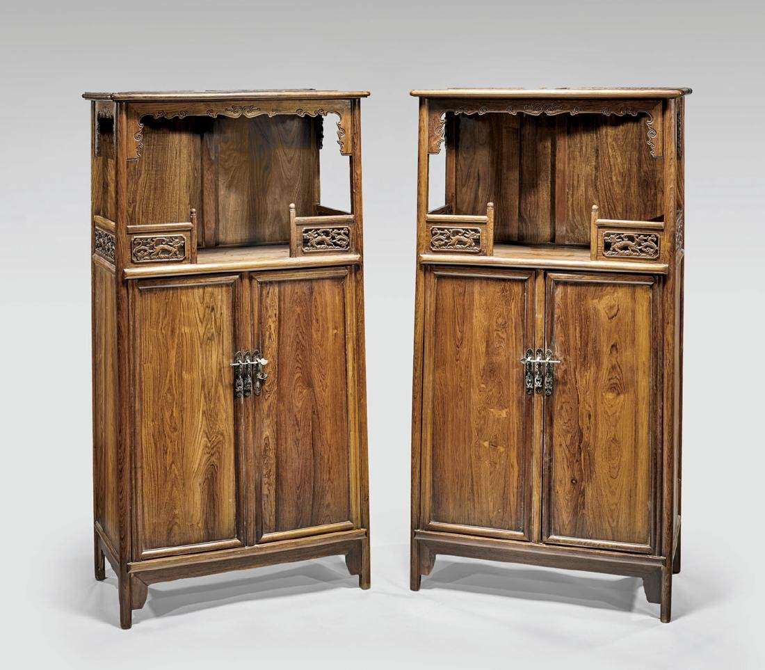 Pair Ming-Style Carved Wood Cabinets