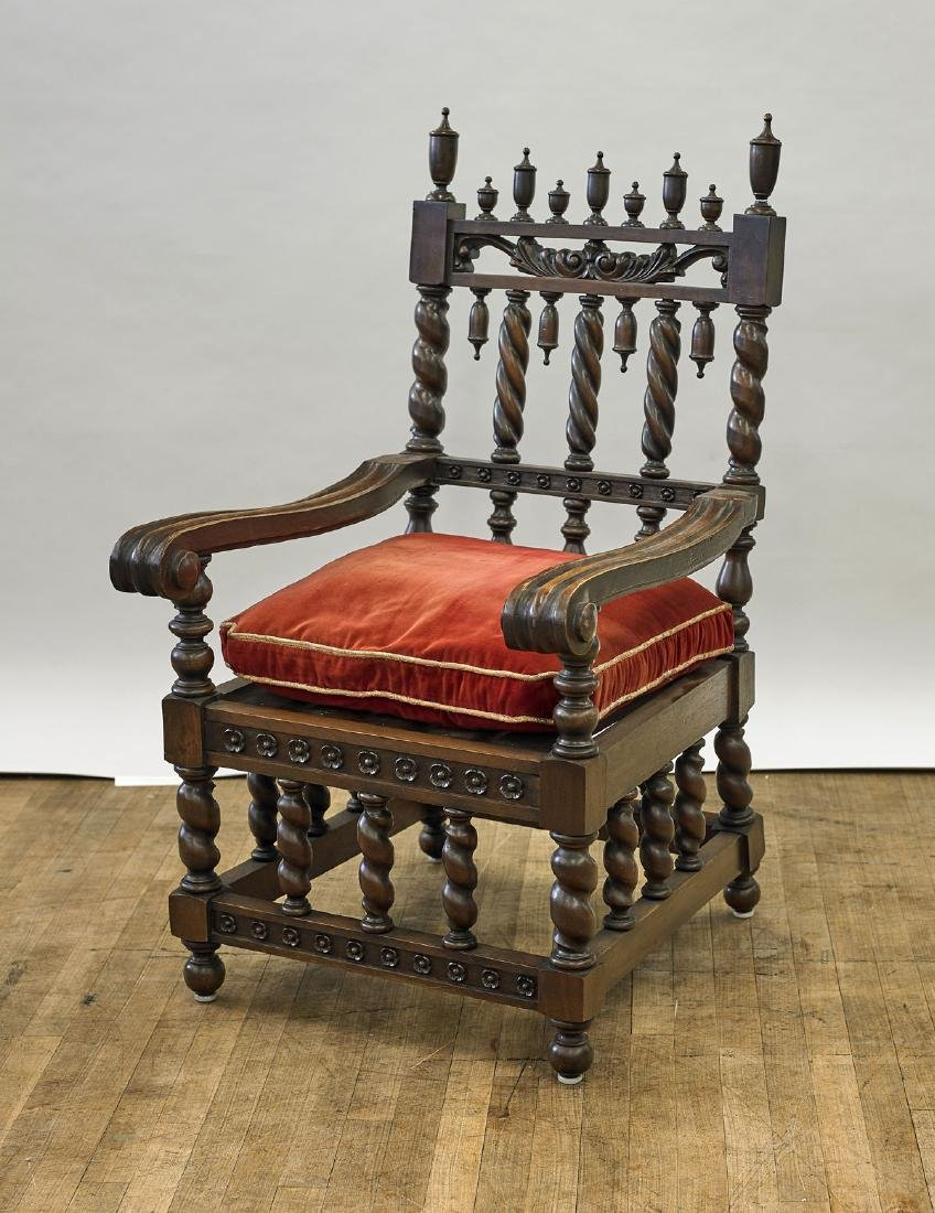 Old Carved & Upholstered Wood Armchair