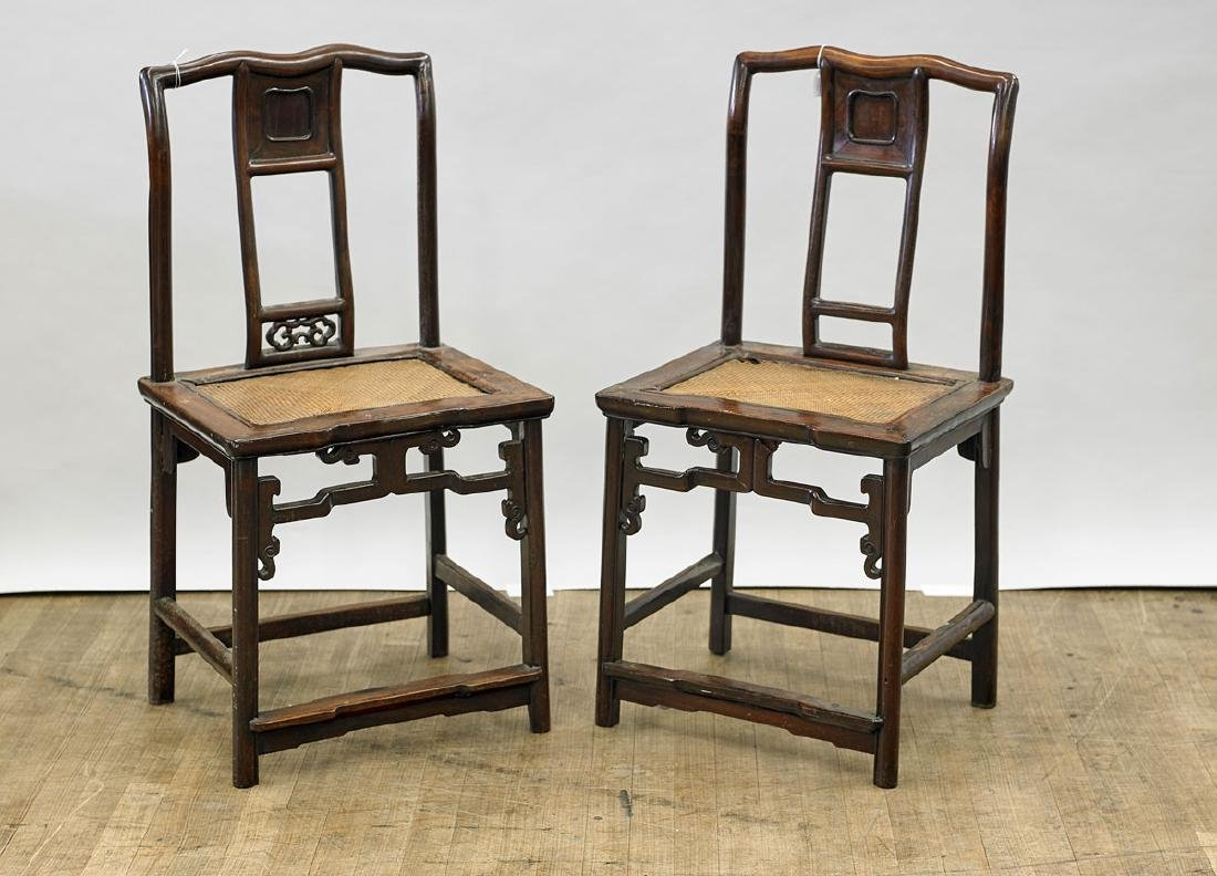 Pair Antique Chinese Carved Hardwood Chairs