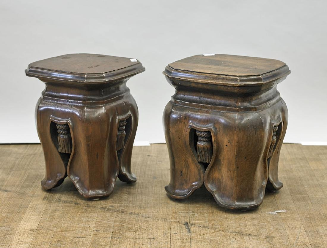 Two Old Carved Wood Stools