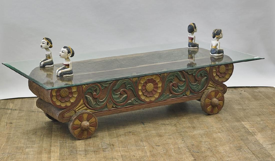 Large Southeast Asian Carved Wood Table