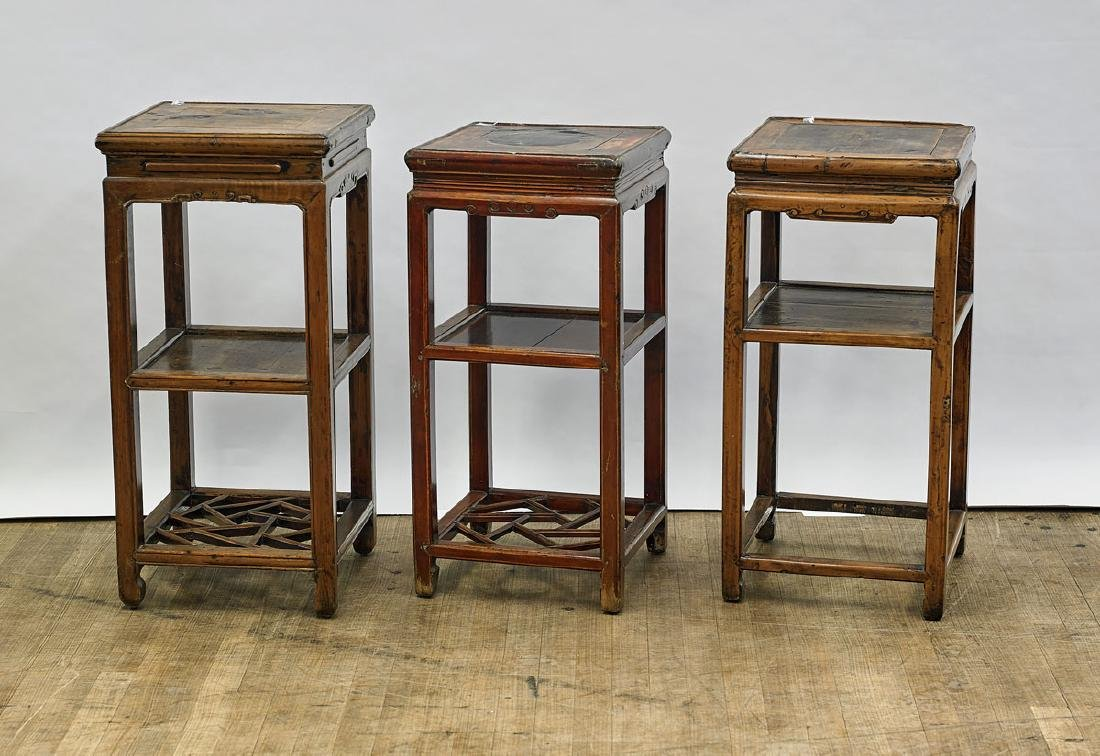 Group of Three Antique Chinese Wood Pedestals