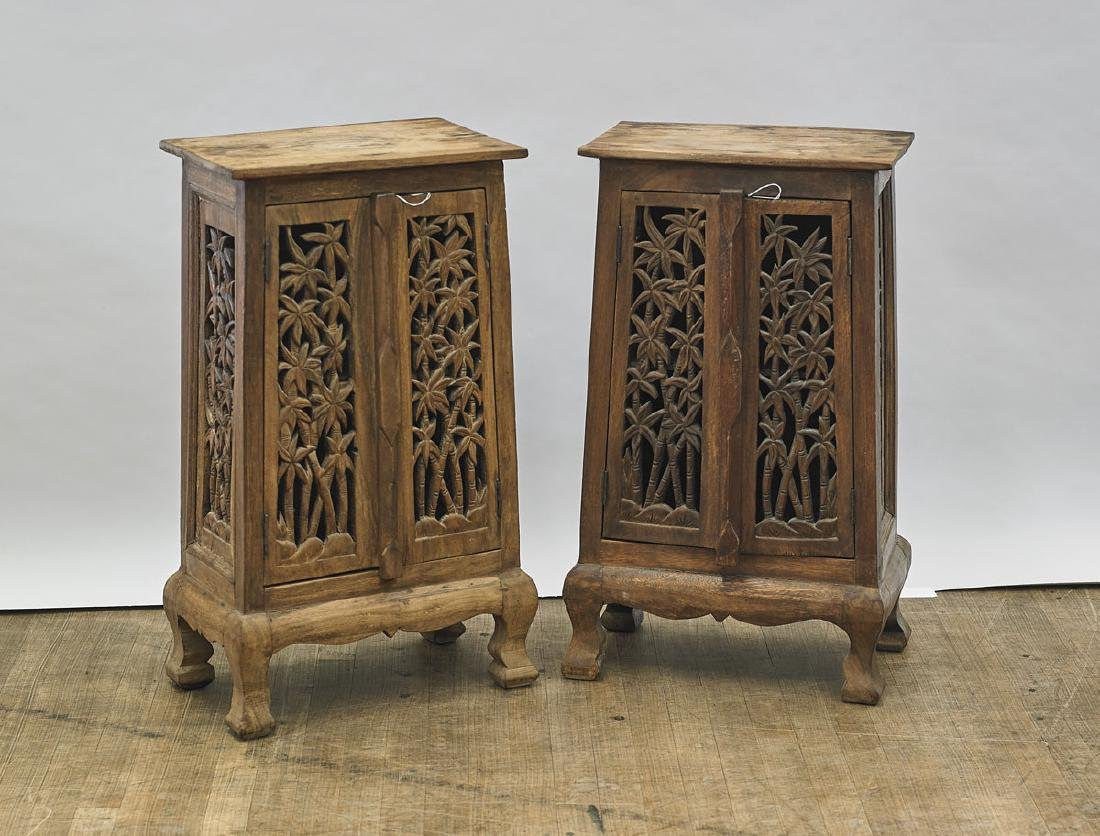 Pair of Antique Chinese Carved Wood Cabinets